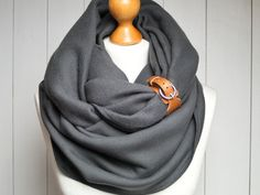 * Chunky infinity scarf made of natural cotton fabric * Fabric used is a chunky knitted jersey (fleece) 95% cotton, 5%spandex, it is soft and cosy and it  stretches * Color: charcoal * Scarf is...