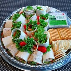 Vegetarian wrap platters- more party food. Bring it on I say.