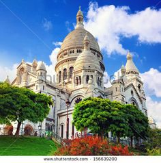 Sacre Coeur Cathedral on Montmartre , Paris, France. - stock photo