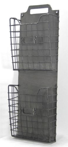 Rustic Style Metal Wire Basket Double Wall Pocket Letter Holder Organizer | eBay  I think I could make this from a board and 2 metal sorting office trays.