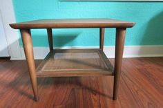Lane Mid-Century Modern Side Table with Caned Bottom Shelf