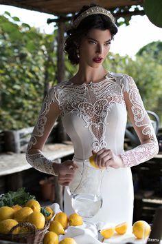 berta bridal 2015 beautiful illusion long sleeve wedding dress guipure lace bodice high neck close up