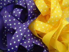 10 Yards 7/8 inch Purple and Yellow Dot Grosgrain Ribbon LSU Combo ...