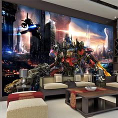 Transformers Optimus Prime Wallpaper Movies Wall Mural 3D Large wall art Room decor Boy's room Bedroom Sofa TV backdrop wall Home decoration