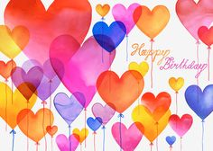 Margaret Berg Art: Pink Birthday Heart Balloons
