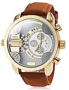 Herren-militaerischen-stil-zwei-zeitzonen-khaki-lederband-quarz-armbanduhr