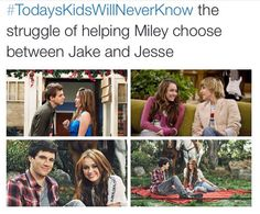 I'm happy she chose jesse ^^ Which only happened because after the He Could Be The One ep, in HM Forever she found out Jake cheated. That's when she and Jesse got together Funny Memes, Hilarious, Jokes, Funny Quotes, Old Disney Channel, Disney Shows, Hannah Montana, Teen Posts, Disney Memes