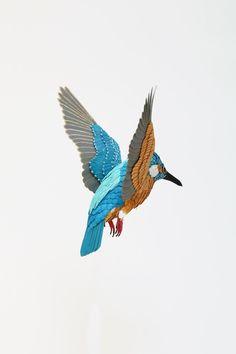 Common kingfisher. Paper sculpture. 2017
