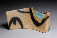 Artist: Mark Pharis, Title: Sculptural Vase: Turquoise/Black/Sig - click on image to enlarge