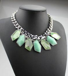 venta caliente 2014 nuevo diseño de collar de la moda grande azul geométrica de piedra de