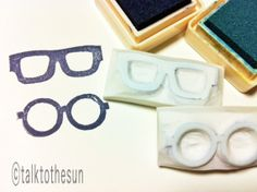 GLASSES hand carved rubber stamp. handmade rubber stamp. set of 2. no1 - For napkins & cards