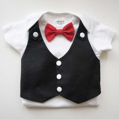 Items similar to Tuxedos Baby Suit- Changeable red bow tie, vest , short sleeve bodysuit. Bow tie on pic sold out, plz select another color on Etsy Smoking, Baby Boy Accessories, Red Bow Tie, Church Outfits, Church Clothes, Cute Baby Boy, Baby Boys, Baby Suit, Black Vest