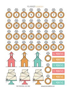 Free Printable Planner Stickers - Wedding countdown