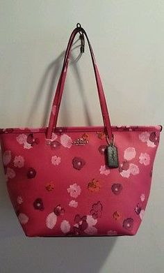 NWT COACH PINK FLORAL PRINT  ZIP TOTE SHOULDER BAG 35161 MOTHERS DAY