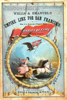 Chariot of Fame sailing card from MSS 470. Sailing Ship Card Collection, 1857-1894, 1918, 1990.