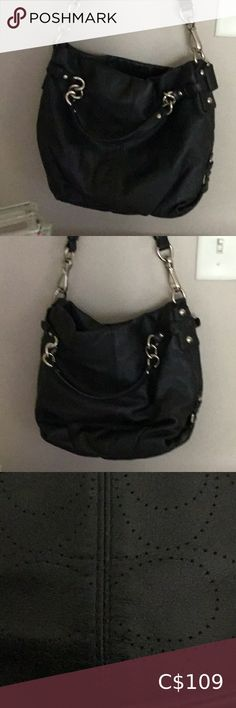 Black All Leather Coach Purse 100 % Authentic F 13008 Black All Leather Bag Great Condition 9/10 Coach Bags Satchels Coach Satchel, Coach Wallet, Coach Purses, Coach Bags, Purses And Bags, Coach Rogue, Coach Legacy, Coach Poppy, Shoulder Purse