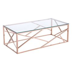 Slim and sleek perfection as a stunning Cage coffee table is created with slim angled strip designs and finished with clear tempered glass top. Cage occasional collection includes side, coffee table i Gold Glass Coffee Table, Coffee Table 2019, Modern Coffee Tables, Decorating Coffee Tables, Coffee Table Design, Rose Gold Interior, Gold Furniture, Steel Furniture, Furniture Styles