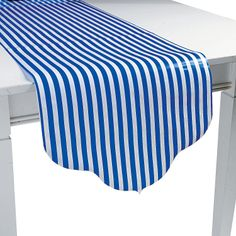 Blue Reversible Table Runner (stripes and polka dots)- OrientalTrading.com