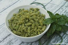Garlic Scape, Basil, and Almond Pesto with Pasta