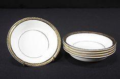 Vintage Saxon China 18K Gold Rim Set of 5 Fruit Sauce Dessert Bowls