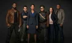 Suicide Squad on Arrow;L to R Bronze Tiger,Shrapnel, Amanda Waller, Deadshot,Lyla Michaels, John Diggle