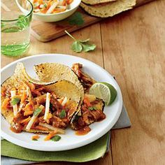 Smoky Shredded Pork Tacos | Cooking Light #myplate #protein