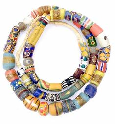 51 Mixed Ghana Recycled Glass Trade Beads