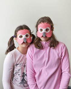 Flamingo dress up mask for children. Kids Halloween or Carnival costume accessory. It is also fun for story telling.