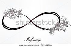 Hand drawn intricare infinity sign in vintage retro style with rose. Elegant tattoo art,