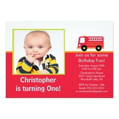 Trucks Birthday Party Invitations Fire truck Photo Birthday Party Invitation