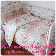7pcs Pink Elephant Cotton Baby Bedding Crib Bedding Bed Around Set, Dynamic Promotion 4bumper+bed Cover+bed Skirt+duvet