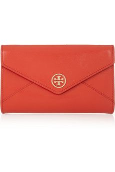 Tory Burch Robinson glossed textured-leather clutch at The Outnet #bag #clutch #toryburch #red