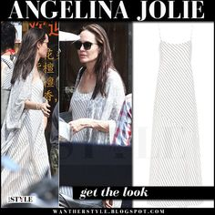 Angelina Jolie in white striped maxi slip dress the row streb what she wore cambodia march 2017