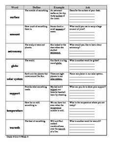 This vocabulary activity is correlated to Common Core (McGraw Hill Wonders) for Grade 3-Unit 3-Week 3. It follows the McGraw Hill Define, Example, Ask strategy for vocabulary.