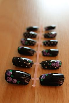 Black Polka Dot Nails with Vintage Purple Roses by misunis on Etsy, $12.50