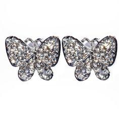 Beautiful Butterflies Crystal Butterfly Earrings Silver - 4EverBling