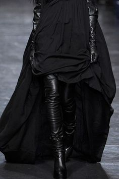 everything-went-black: Ann Demeulemeester| aw'11. love the sweeping dress accessorized w/ black leather.