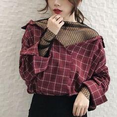Women's Korean Fashion V Neck Loose Casual Blouse Plaid Stitching Lace shirt Top