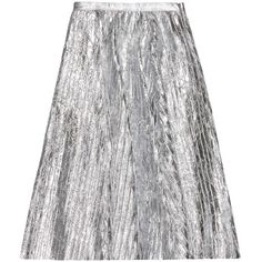 VEIL LONDON - Pleated Silver Leather Midi Skirt ($1,105) ❤ liked on Polyvore featuring skirts, a line midi skirt, leather skirt, pleated skirt, calf length skirts and mid calf skirts