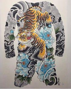 Le tigra done on in copics. Japanese Tiger Art, Japanese Tiger Tattoo, Tattoo Japanese Style, Japanese Dragon Tattoos, Traditional Japanese Tattoos, Japanese Tattoo Designs, Japanese Sleeve Tattoos, Japanese Artwork, Irezumi Tattoos