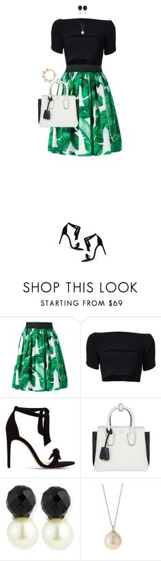 """Green, Black And White"" by ittie-kittie on Polyvore featuring Dolce&Gabbana, T By Alexander Wang, Alexandre Birman, MCM, Kenneth Jay Lane, Lele Sadoughi, Joomi Lim, Summer, summerstyle and summerfashion"
