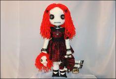 22 inch hand stitched doll. Jelly Bracelets, Stitch Doll, Black Spider, Creepy Art, Burgundy Dress, Black Leather Shoes, Plushies, Hand Stitching, Art Dolls
