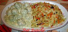 Kaporszószos húsgombóc pirított zöldséges tésztával Hungarian Recipes, No Cook Meals, Cabbage, Healthy Living, Pork, Food And Drink, Menu, Dishes, Chicken