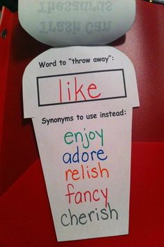 "Vocabulary- Teaching Reading trash can thesaurus- ""throw away"" overused words vocabulary? Teaching Language Arts, Classroom Language, Classroom Fun, Teaching Writing, Writing Activities, Speech And Language, Teaching English, Writing Binder, School"