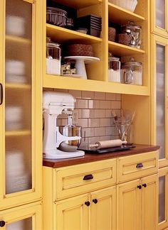 kitchens, open shelves, pantri, cabinet colors, dream, subway tiles, baking center, open shelving, kitchen cabinets