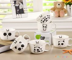 I must own these... Now! Kawaii Blushing Panda Mugs / Cups