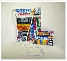 old bag made from candy wrappers