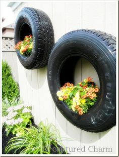 thinking about putting some tire planters up on the barn at home!