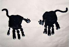 Handprint Black Cats for Halloween! - Fun Handprint Art