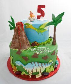 Dinosaur birthday cake.......Just need underwater sea monsters now!
